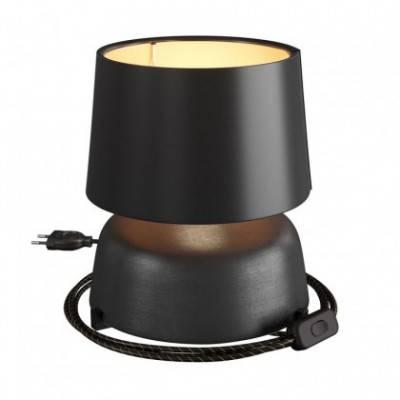 Lámpara de sobremesa de cerámica Coppa con pantalla Athena, completa con cable textil, interruptor y clavija de 2 polos