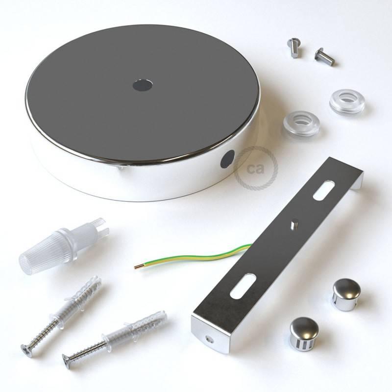 Kit rosetón cilíndrico de metal 1 agujero central y dos laterales