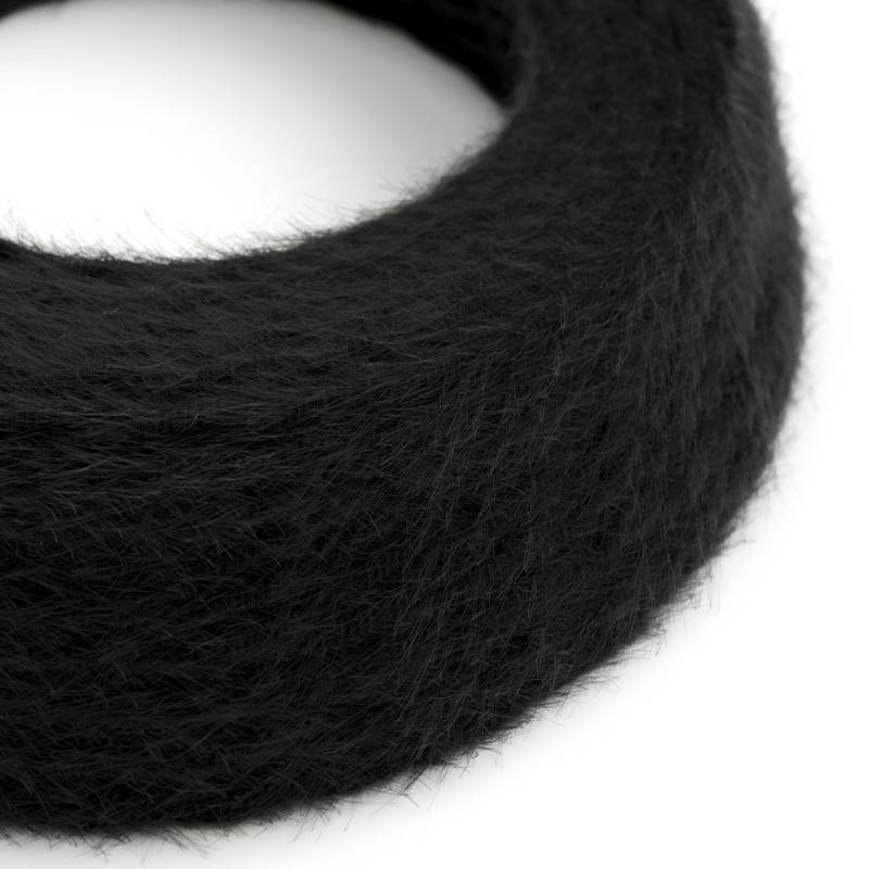 Cable eléctrico trenzado Marlene revestido en tejido efecto Furry Negro TP04