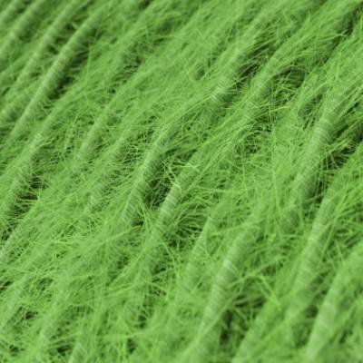 Cable eléctrico trenzado Marlene forrado en tejido efecto Furry Verde TP06