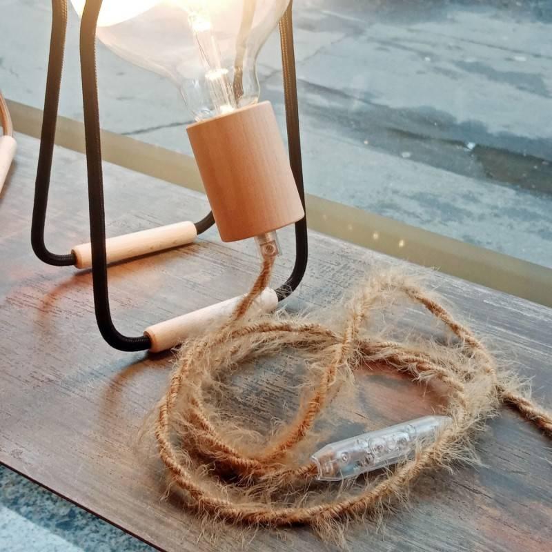 Cable eléctrico trenzado Marlene revestido en tejido efecto Furry Khaki TP13