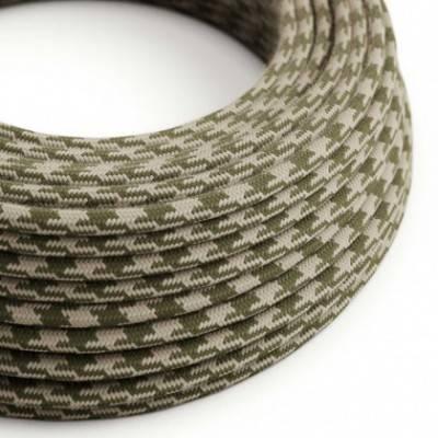 Cable Eléctrico Redondo recubierto en Algodón Bicolor Verde Tomillo y Gris pardo RP30