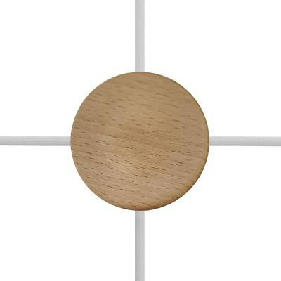 Kit Mini rosetón cilíndrico en madera con 4 agujeros laterales (caja de conexiones)