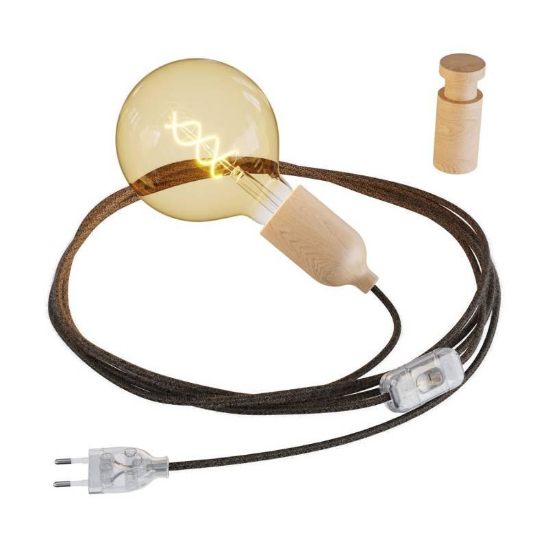 Snake, cableado con portalámparas de madera, enchufe e interruptor con pasacables de madera Rolé