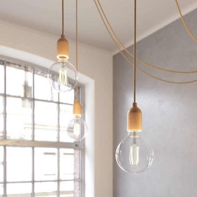 Spider a pared - Lámpara de suspensión múltiple con 4 caídas Made in Italy con cable textil y acabados en madera