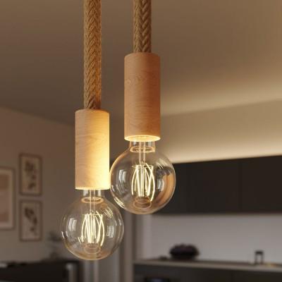 Lámpara suspensión múltiple con 2 caídas completa con cordón 2XL y acabados en madera
