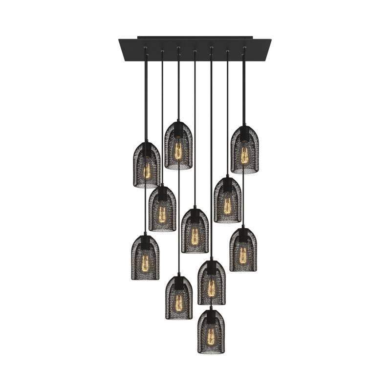 Lámpara colgante a 11 caídas con Rose-One XXL rectangular 675 mm con cable textil y pantalla en metal Ghostbell