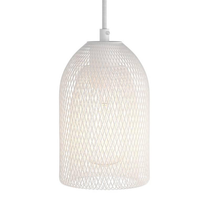 Lámpara colgante hecha en Italia con cable textil, pantalla de jaula Ghostbell y adornos metálicos