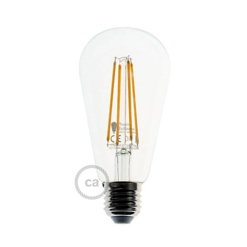 Lámpara colgante hecha en Italia con cable textil, pantalla de jaula Ghostbell XL y adornos metálicos