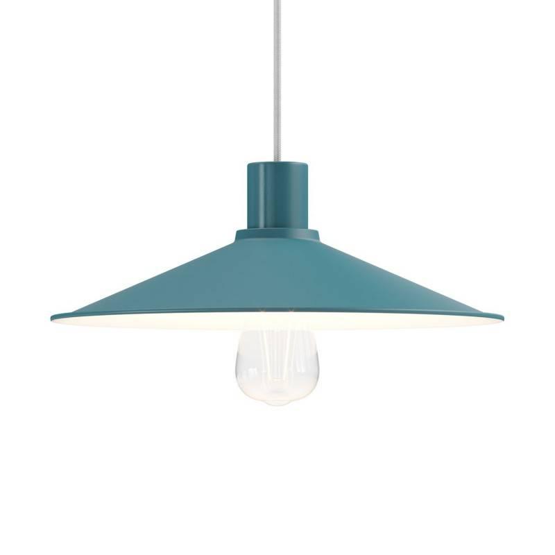 Lámpara de suspensión Made in Italy con cable textil, pantalla Swing Pastel y acabados metálicos