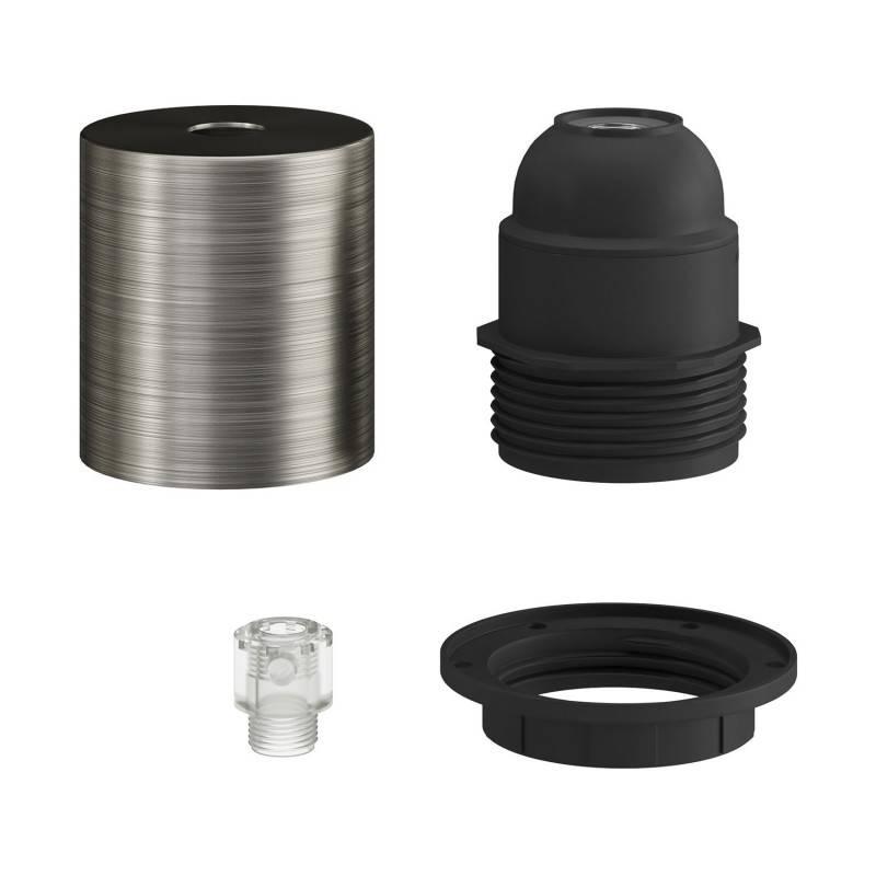 Kit portalámparas E27 en metal semi-roscado con abrazadera de cable oculta