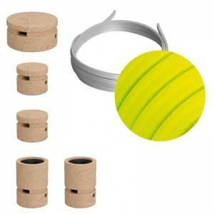 Kit Wiggle Filé System - con 3m cable textil guirnalda y 5 accesorios de madera