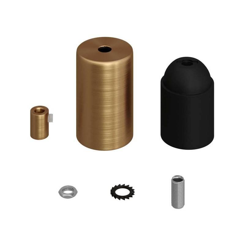 Kit portalámparas cilíndrico de metal E27